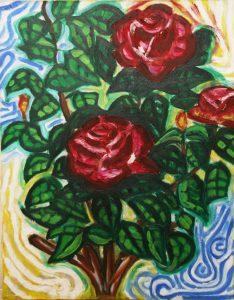 最初に描いた油絵 薔薇