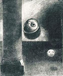 オディロン・ルドン リトグラフ 画像 『ゴヤ頌』《4…胎児のような存在もいた》 1